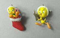 Hallmark Miniature Tweety Bird Ornaments Lot of 2 Miniature Keepsake Ornaments