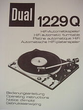 DUAL 1229 Q TURNTABLE OPERATING INSTRUCTION MANUAL 26 Pages