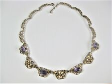 Necklace Silver 800 Gold Plated With Amethyst, 1.1oz