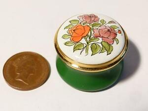 ROSE - JUNE Month Flower Staffordshire Enamels Pill Ring Box Boxed #17