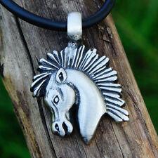 Roman stallion Horse Mustang Trojan Mohwak Meme Pewter Pendant w Black Cord