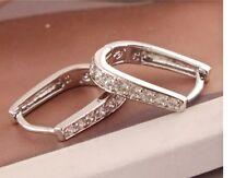 Women's Silver And Rhinestone Filled Design Huggie Earrings Jewellery Gift UK