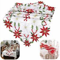 Weihnachten Tischläufer Mitteldecke Tisch Deckchen gestickten Blumen Tischdecke