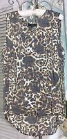 NEW~ Plus Size 1X Soft Muted Animal Print Boho Shirt High Low Tunic Top  Blouse