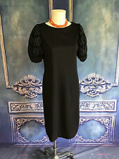 Vintage 1960's Lord & Taylor Mutton Sleeve Shift Dress LARGE (12) Polyester Knit
