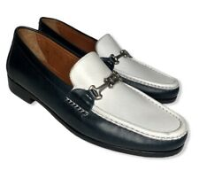 Bruno Magli Theodor Leather Loafers Womens US Size 8 Blue White Made In Italy