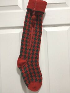 Vtg 1988 Dept 56 Knit Country Christmas Stocking Green Red Judy Pelikan