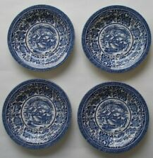 4 x  WINTER ON THE HOME FARM SAUCERS  BLUE & WHITE