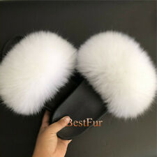 White-Women's Slides Real Fox Fur Slippers Beach Sandals Casual Sliders shoes