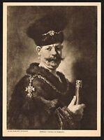 1910s Antique Vintage Sobieski Portrait Rembrandt Gravure Art Print