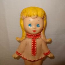 """Vintage Doll Sun Rubber Inc 8"""" Does Not Squeak Pink Yellow Braided Hair"""