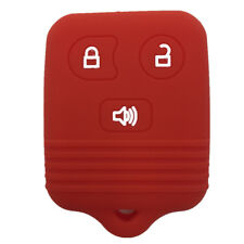Red Silicone Keyless Remote Key Fob Case Skin Cover fit for Ford 3 Buttons