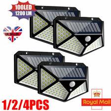 More details for 4x 100led solar power pir motion sensor wall lights outdoor garden security lamp