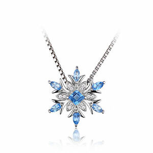 """Stunning Swiss Blue Topaz Snowflake Pendant Sterling Silver 18""""Necklace"""