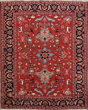 Museum Piece Antique Red 5x6 Vegetable Dye Heriz Serapi Geometric Area Rug Wool