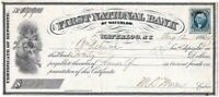CIVIL WAR 1864 First National Bank Waterloo, NY Certificate of Deposit