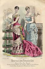 """116/ GRAVURE DE MODE """"  JOURNAL des DEMOISELLES """" 1883 SUPERBES COULEURS !"""