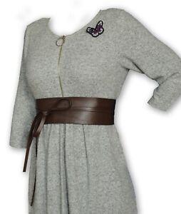 "Plus Size VIKTOR SABO Handmade OBI BROWN Leather For waistline Up To 39""/99 cm"