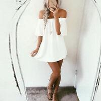 Women Summer Three Quarter Sleeve V-Neck Loose Lace Boho Beach Short White Dress