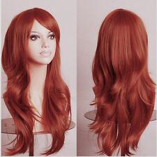 Red cosplay wig long hair straight wave hair part dress full wigs halloween hair