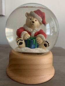 "Vintage 1998 Eddie Bauer Home 6"" Polar Bear Snow Globe With Wooden Base"