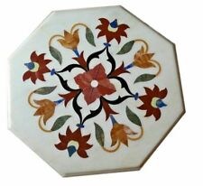"""15x15"""" White Marble Table Top Coffee Center Inlay Work"""