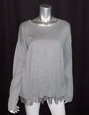 LANE BRYANT NEW Gray Scoop Neck Long Sleeve Lace Trim Hem Sweater sz 14/16
