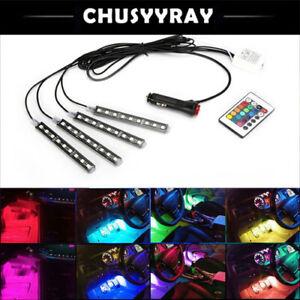 4pcs LED RGB Car Interior Atmosphere Footwell Strip Light USB Charger Decor Lamp