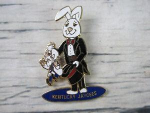 Kentucky Jaycees 1980 Magic Bunny Rabbit Colonel Out of Hat Enamel Lapel Pin