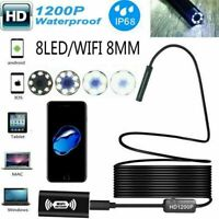 6/8LED WiFi Endoscope Borescope Inspection HD 1200P Camera For iPhone Andro A4A0