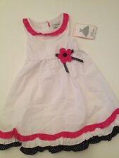 Rare Editions Girl Seersucker Summer Dress Size 4 4T White Fuscia Sleeveless