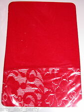 BRIGHT RED OPAQUE FOOTLESS TIGHTS WITH FLORAL LACE TRIM - FLIRT - PRETTY! BN