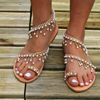 Womens Bohemian Pearl Sandals Beach Party Flip Flops Casual Flats Shoes 2 Styles