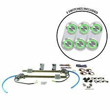 2-Dr Flat Glass Power Window Kit w/3 Daytona Billet Switches - Gn Illumination