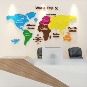 Acrylic 3D Map Of World Smooth Solid Crystal Wall Stickers Office Decoration