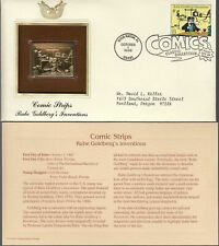 RUDE GOLDBERG-COMIC STRIPS/INVEN' 1ST DAY ISSUE  GOLD [22KT] REPLICA STAMP 1995