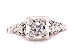 Vintage Diamond Engagement Ring Old European Cut .20ct Platinum Art Deco Antique