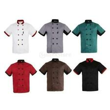 Unisex Chef Jacket Coat Restaurant Hotel Work Uniform Short Mesh Sleeves New