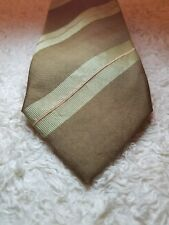 Ermenegildo Zegna Olive Brown Stripes Silk Tie