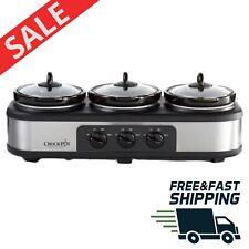 Crock-Pot Triple Slow Cooker Stainless Steel Buffet Server Food Warmer Non Stick