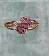 Tanzanian Garnet Pink  Trilogy RING size 8 14K Rose Gold/Silver TGW 0.96