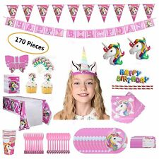 Unicorn Party Set Supplies for 16 Kids- 170 Pieces -Girl's Birthday