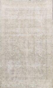 Muted Geometric Vintage Distressed Hand-knotted Area Rug Evenly Low Pile 9x12 ft