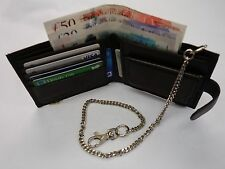 Soft Leather Gents Wallet with Security Chain Brown