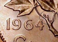 Canada 1964 Small Cents *Worm Variety* Gem BU UNC Penny!!