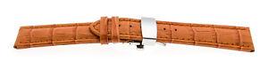 Watchband Croco Look Butterfly-Fastener XXL Orange 0 23/32in 0 25/32in 0 7/8in