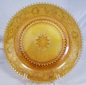 Vintage Tiara Exclusives Amber Sandwich Glass Serving Platter/Plate (1970s)