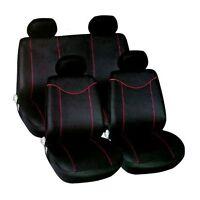 UNIVERSAL BLACK / RED  CAR SEAT COVERS SET AIR BAG FRIENDLY FULL SET FORD FIESTA