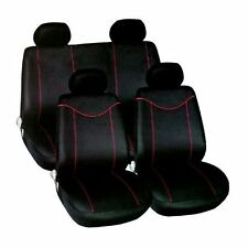 Universal Car Seat Covers Black & Red Washable Airbag Safe Full 10 Piece Set NEW