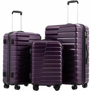 Luggage Expandable Suitcase PC ABS TSA Lock 3 piece new 3 piece set purple